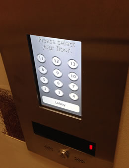 Elevator Input Pad in the Elevator Bank